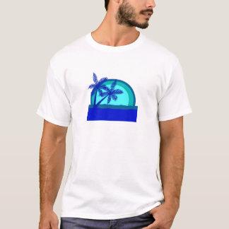 Por do sol retro do estilo camiseta