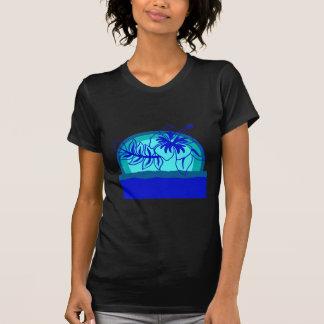 Por do sol retro do estilo com hibiscus tshirt
