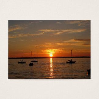 Por do sol sobre a ilha de Lummi Cartão De Visitas