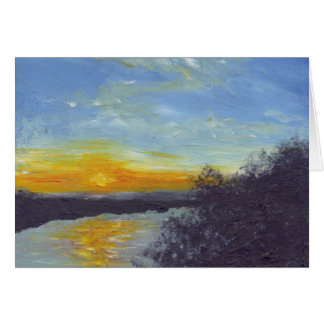 Por do sol sobre o cartão de Mississippi