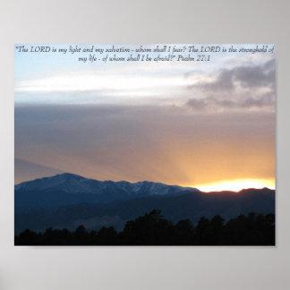 Por do sol sobre o pico de Pike - 27:1 do salmo Poster