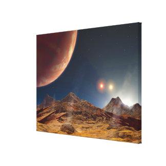 Por do sol triplo da estrela de um planeta estrang impressão de canvas envolvida