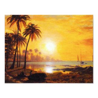 Por do sol tropical com convites dos barcos de