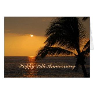 Por do sol tropical do 20o aniversário feliz cartões