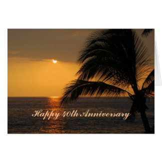 Por do sol tropical do 40th aniversário feliz cartão comemorativo