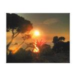 Por do sol tropical impressão de canvas envolvidas