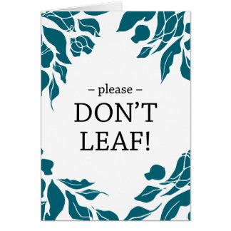 Por favor não folheia o cartão de adeus