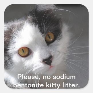 por favor, nenhuma maca do gatinho do bentonite do adesivo em forma quadrada