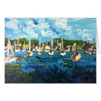 Pôr-n-Baía o Lago Erie que pinta o cartão #1