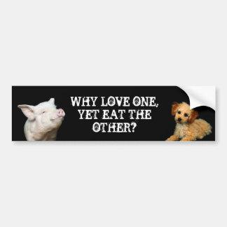 Por que amor um - contudo coma o outro? Porco/cani Adesivo Para Carro