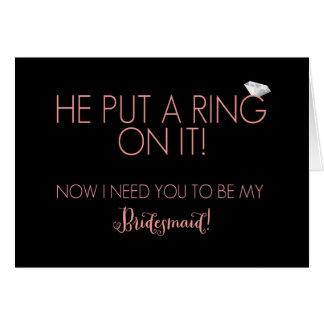 Pôr um anel sobre ele cartões do pedido da dama de