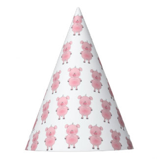 Porco bonito dos desenhos animados chapéu de festa