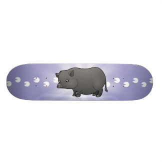Porco da miniatura dos desenhos animados shape de skate 18,4cm