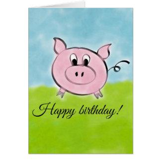 Porco do feliz aniversario cartão comemorativo