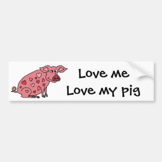 Porco engraçado com design dos corações adesivo