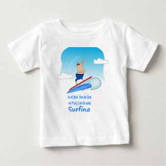 Porco enlameado nas ondas camiseta para bebê