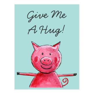 Porco feliz - dê-me um cartão do abraço