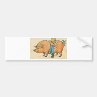 porco gigante com fazendeiro adesivo para carro