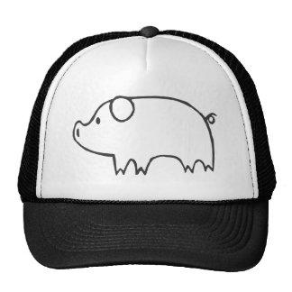 Porco novo no esboço preto e branco bonés