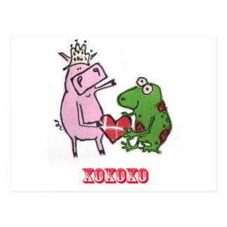 Porco & sapo no cartão dos namorados do amor