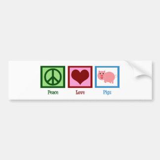 Porcos do amor da paz adesivo para carro