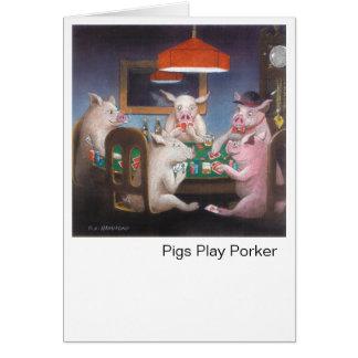Porker do jogo dos porcos cartões