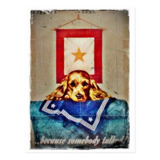 Porque alguém falou um filhote de cachorro triste cartão postal