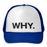 PORQUE. chapéu do camionista do slogan do Bone