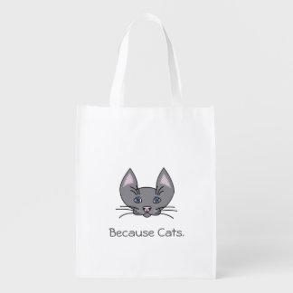 Porque saco reusável dos gatos sacolas ecológicas para supermercado