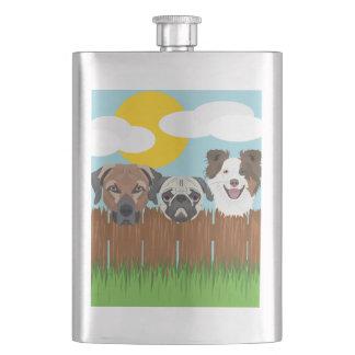 Porta Bebida Cães afortunados da ilustração em uma cerca de