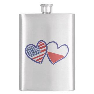 Porta Bebida Corações da bandeira do Polônia dos EUA