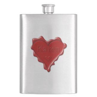 Porta Bebida Karen. Selo vermelho da cera do coração com Karen