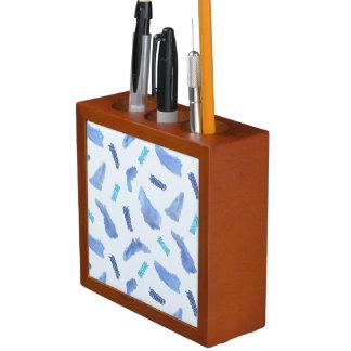 Porta Caneta A aguarela azul mancha o organizador da mesa