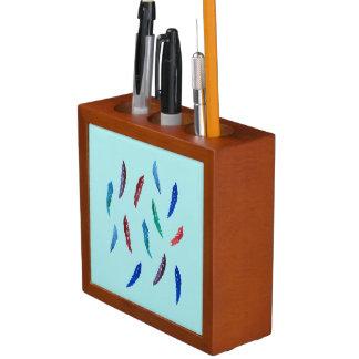 Porta-caneta A aguarela empluma-se o organizador da mesa