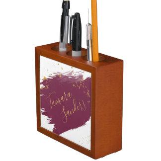 Porta-caneta A pintura moderna do ouro de Borgonha afaga o