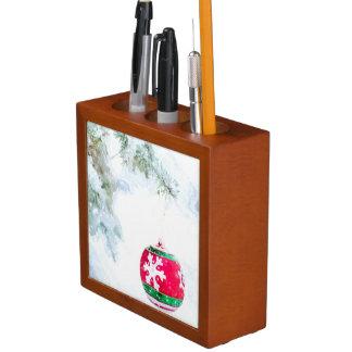 Porta Caneta Aguarela branca da neve do feriado do Natal