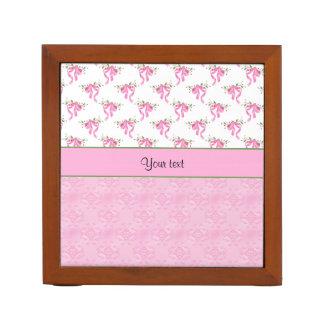 Porta-caneta Arcos cor-de-rosa românticos & damasco cor-de-rosa