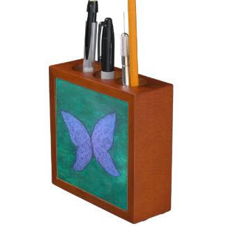 Porta-caneta Asas verdes roxas violetas azuis da borboleta |