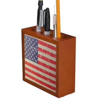Porta-caneta Bandeira americana resistida, afligida dos EUA