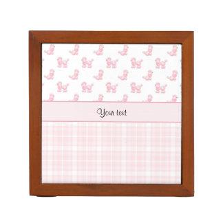 Porta-caneta Caniches & verificações cor-de-rosa do rosa