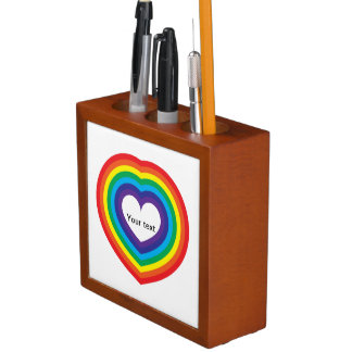 Porta Caneta Coração do arco-íris