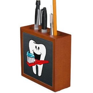 Porta-caneta Dente limpo feliz