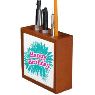 Porta-caneta Design tipográfico feliz de Brithday