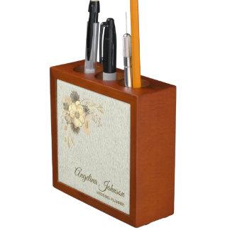 Porta Caneta Elegante rústico dourado da aguarela floral do