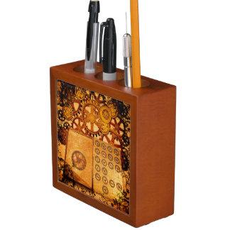 Porta-caneta Engrenagens de Steampunk do Grunge
