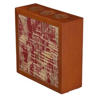 Porta Caneta Escuro - vermelho e arte moderna do ouro