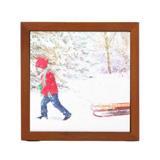 Porta-caneta Feriados do Natal do menino do trenó do inverno da