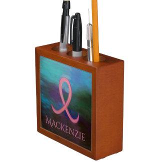 Porta-caneta Fita de câncer de mama cor-de-rosa corajosa de