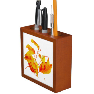 Porta-caneta Folhas do Dogwood no organizador da mesa