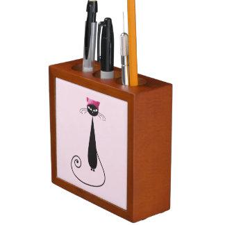 Porta Caneta Gato cor-de-rosa do gatinho do chapéu